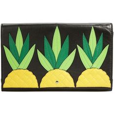 Kate Spade New York Wing It Tally  Leather Clutch ($89) ❤ liked on Polyvore featuring bags, handbags, clutches, purses, pineapple, genuine leather purse, real leather purses, embellished handbags, kate spade clutches ve green clutches