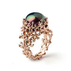 55fe74f6509f Anillo CORAL de la perla negra negro perla anillo de Anillos Antiguos