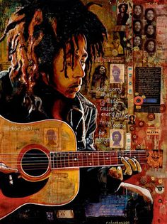 Bob Marley - Steven should paint just Bob and the guitar with a cool color background!!