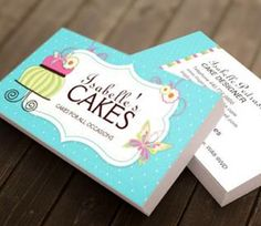 Whimsical Cake Designer Business Card created by Colourful Designs Inc. Fully Customizable!