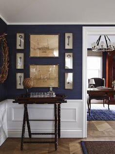 Navy Blue Grasscloth - Greg Natale Design - East Brisbane Guest House