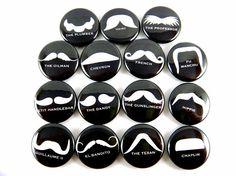 Mustache Love  Moustache Black and White Buttons by PandaLoveShop, $5.50