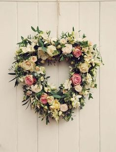 Rustic Heart Flower Door Decoration - floral garland Would be lovely with some reds and purples. Could also be done with winter flowers. Whimsical Wedding Flowers, Floral Wedding, Trendy Wedding, Church Flowers, Funeral Flowers, Deco Floral, Floral Design, Wedding Wreaths, Wedding Decorations