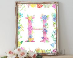 Letter H wall art monogram floral nursery decor by AdornMyWall