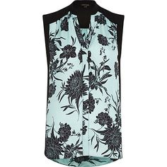 Black floral print sleeveless blouse