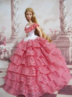 Handmade Barbie dolls clothes Chloe doll dress Victorian fair maiden dress skirt red grid multi-layer cake skirt