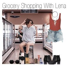 """""""Grocery Shopping With Lena"""" by katarina-stilinski ❤ liked on Polyvore featuring Too Faced Cosmetics, Topshop, H&M, Bardot, Versace, Urban Decay, Vanessa Mooney, Kate Spade, MAC Cosmetics and imagine"""