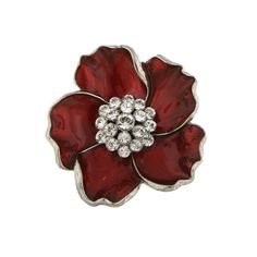A sweet and delicate accessory. Featuring a lovely flower with red enameled petals and a cluster of clear crystals in the center. A stylish piece that accents any ensemble.