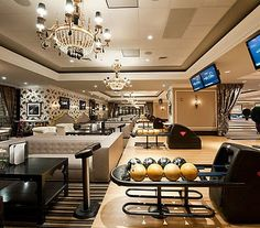 In my dream home a smaller bowling alley along these lines would be in my basement! Maybe not AS fancy Home Bowling Alley, Feng Shui, Design Your Own Home, Home Entertainment, Big Houses, Cool Rooms, My Dream Home, Dream Life, Luxury Homes