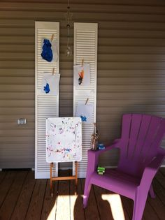 Repurposed shutters bifold doors art display kids
