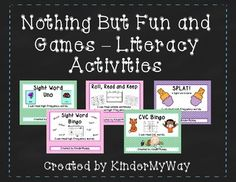 Nothing But Fun and Games - Literacy Activities I am always on the lookout for fun games for parent volunteers and small groups. This packet includes five games that help students practice their sight words, read cvc words and sentences.