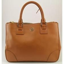 Tory Burch Robinson Double Zip  Women Brown Tote Pre Owned Blemish  1551