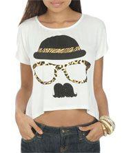 Animal Print Stache Tee+ Little girl= Shirt un cropped!