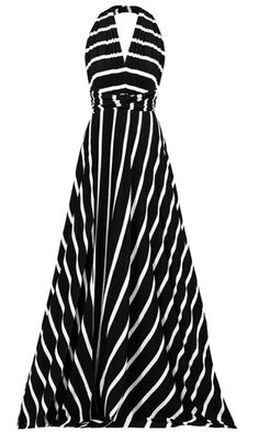 Black Stripe Halter Maxi Dress - love this style - received in June a similar dress in black and white polka dot Halter Maxi Dresses, Maxi Wrap Dress, Dress Up, Cute Dresses, Cute Outfits, Summer Dresses, White Fashion, Spring Summer Fashion, Dress To Impress