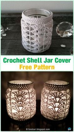 Crochet Tealight Holder Shell Jar Cover Free Pattern By Ólöf Lilja