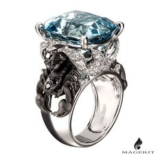 Stunning and unique ring, made from a limited series of special stones  #scorpion #Magerit #MageritJoyas #Aquamarine #ring #fashion #luxury #love #jewelry