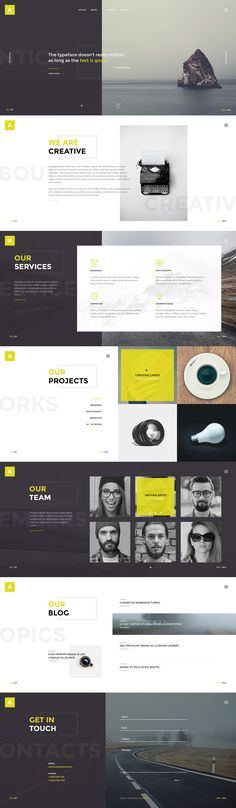 Buy Antica — Multipurpose Business Agency & Personal Portfolio PSD Template by torbara on ThemeForest. Antica is a simple and interesting PSD template for Business agency, design studio, web-development company or freel. Web Design Trends, Layout Design, Design De Configuration, Layout Web, Site Web Design, Design Sites, Interaktives Design, Website Layout, Flat Design