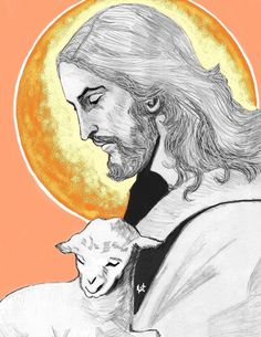 The Lamb of God sketch by Kathleen Ellinger, OFS Christian Paintings, Christian Artwork, Pictures Of Jesus Christ, Religious Pictures, Catholic Art, Religious Art, Jesus Reyes, Jesus Drawings, Padre Celestial
