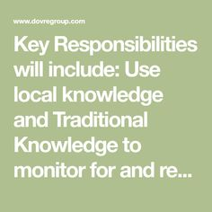 Key Responsibilities will include: Use local knowledge and Traditional Knowledge to monitor for and record sightings of marine mammals to assist the Sea Birds, Mammals, Monitor, No Response, Knowledge, Key, Traditional, Ideas, Unique Key