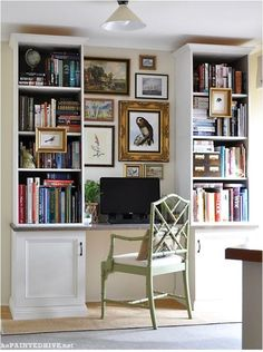 Make a home office from any blank wall. Use 2 upper bookcases, 2 lower cabinets, and one desk top, paint with Antique White USA (Dulux) and Marita Grey (Cabots). Follow link in post for directions, I couldn't pin from original site.