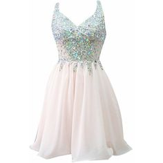 AngelDragon V-Neck Straps Rhinestones Lace Party Dresses ❤ liked on Polyvore featuring dresses, bridesmaid dress, evening dress, prom dress, short party dress, short pink dress, prom dresses, lace bridesmaid dresses, lace dress and pink dress