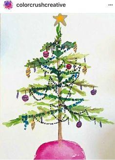 Christmas Tree Art, Christmas Drawing, Christmas Paintings, Christmas Crafts, Watercolor Christmas Cards, Watercolor Cards, Watercolor Flowers, Watercolor Paintings, Watercolor Techniques