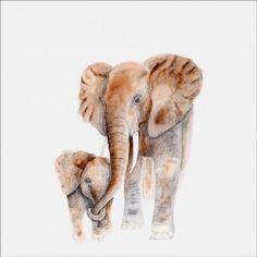 Mom and Baby Elephants Canvas Wall Art