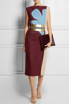 Roksanda Ilincic|Lea color-block wool-felt dress|NET-A-PORTER.COM