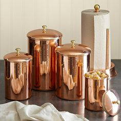 Copper canisters from Williams-Sonoma. CLICK HERE TO ENTER WS's $5,000 REGISTRY GIVEAWAY: http://r.linqia.cc/89d9012 #sp #giveaway #WilliamsSonoma