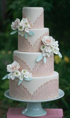 Vintage Wedding Ideas- white and sand pink lace wedding cake
