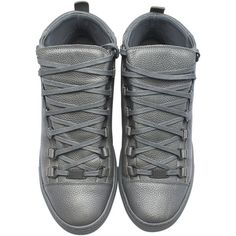 Balenciaga Mens Gris Grey Leather Sneakers, Size 7 ($745) ❤ liked on Polyvore featuring men's fashion, men's shoes, men's sneakers, mens flat shoes, mens leather shoes, mens gray dress shoes, mens grey sneakers and balenciaga mens shoes