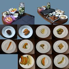 Vegan grill 3 gangen diner, met fusion water, stokbrood, basilicum gaucamole, groenten, seitan tomaat burgers, gemarineerde tofu en fruit