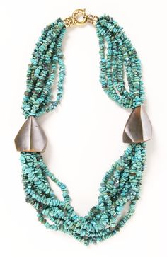 Vintage Turquoise 8-strand Necklace with Horn.