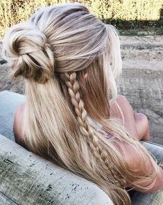 Boho hair long hairstyles half up braid