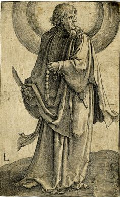 St Bartholomew; holding a knife in his right hand and a rosary in his l; facing left but turning his head to the right.  c.1510 Engraving