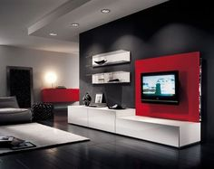 White black bedroom wall units with red contemporary