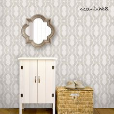 Wave Grey Peel & Stick Fabric Wallpaper Repositionable - Simple Shapes Wall Decals, Furniture, and Accessories Wallpaper For Sale, Wallpaper Samples, Peel And Stick Wallpaper, Wallpaper Designs, Waves Wallpaper, Fabric Wallpaper, Off White Walls, Cleaning Walls, Traditional Wallpaper