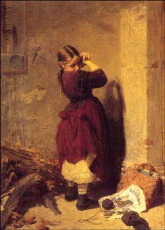 'Little Girl Playing' Nikolaos Gyzis ( Greek Greek Paintings, Oil Paintings, Art Addiction, Greek Art, Chiaroscuro, Gustav Klimt, Figure Painting, Painting Art, Beautiful Paintings
