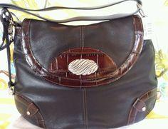 RARE $310. Classic Brighton Shoulder Bag Black Leather Brown Croc  NWT FREE SHIP #Brighton #ShoulderBag