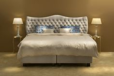 Luxurious BoxSpring Bed #bed #boxspring #boxspringbed #bedroom #bedroominspiration #beds #upholstered #upholsteredbed Luxury Bedding Collections, Beautiful Bedrooms, Bed Design, Linen Bedding, King Size, Bed Sheets, Latex, Pillows, Cool Stuff