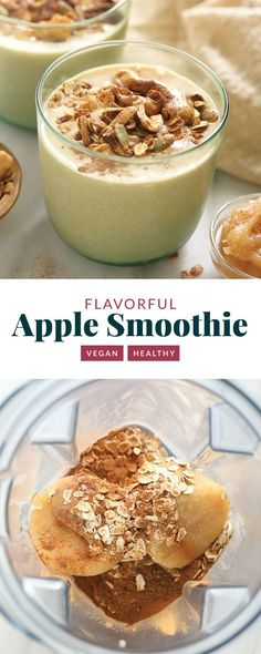 This apple smoothie recipe is an excellent healthy breakfast idea or snack. It's made with frozen applesauce, almond milk, ground flaxseed, and your favorite nut butter. Apple Smoothie Recipes, Apple Smoothies, Vegan Smoothies, Easy Smoothies, Healthy Dessert Recipes, Apple Recipes, Snack Recipes, Diabetic Snacks, Flour Recipes