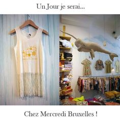 "Vous pouvez dès à present retrouver les tuniques Un Jour je serai... chez Mercredi Bruxelles ! Petit plus , de jolies perles en bois à positionner sur les franges avec la tunique ... The fringes tees are available at the store ""Mercredi Bruxelles"" in Brussels, Belgium. #unjourjeserai #franges #agathe #perles #vacances #bruxelles #chatelain #mercredibruxelles #somedayillbe"