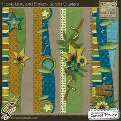 Hook, Line, & Sinker - Border Cluster :: Page Edges :: Embellishments :: SCRAPBOOK-BYTES