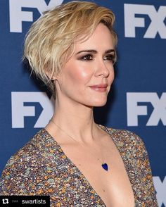 Sarah Paulson's fresh pixie cut is the perfect mixture of casual wave and put-together style. *Swoon.*