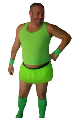 3 Pc Neon Green Fun Stiched Up Stag Party Tutu Set Fancy Dress Costume