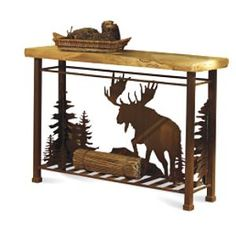 "Moose Sofa Table - moose, mountain,& tree silhouette - aspen wood top; 49""W x 15""D x 33""H"
