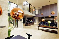 Architecture, Divine Luxury Modern Villa In South Africa By Nico Van Der Meulen Featuring Interior Design In Living Room With Sofa, Marble Floor And Cool Pendant Lamp: Astonishing Contemporary Home Design with Modern Interior Design