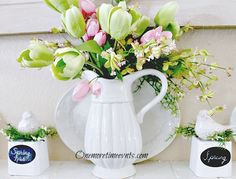 spring mantel spring has sprung, crafts, fireplaces mantels, seasonal holiday decor, wreaths, Decorating with green and pink tulips on mantel
