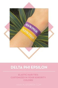 Sorority hair ties are the easiest gift for any celebration: Recruitment, Bid Day, Back to School & Big/Little. Spoil your new sorority girl with a hair tie set! Delta Phi Epsilon Gifts   Delta Phi Epsilon Bid Day   DPhiE Hair Ties   Delta Phi Epsilon New Pledge Gift   Sorority Bid Day   Sorority Recruitment   Sorority Hair Tie Gifts   Sorority College Gift   Sorority New Member Gift Ideas #SororityGifts #SororityHairTies