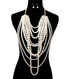 Gold Chain Multi Layer Pearl Necklace Set 10 Layer Pearl Earrings Super Long  #WiseJewels